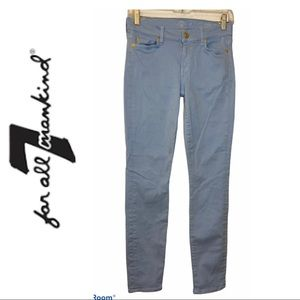 7 for All Mankind Light Blue Cropped Skinny Jeans